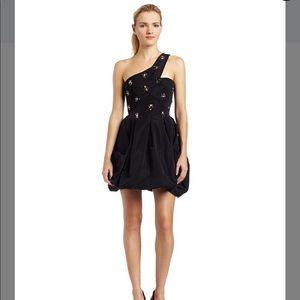 BCBGMAXAZRIA One Shoulder Tafetta Black Dress